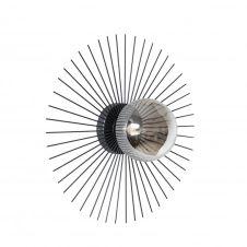 Applique en métal noir et globe en verre argenté