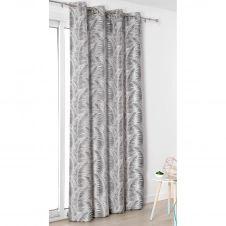 Rideau à oeillets aux motifs palmes polyester gris anthracite 250×145
