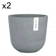 Lot de 2 pots de fleurs bleu gris D25
