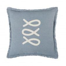 Coussin d'extérieur en coton gaufré bleu et écru à franges 45×45