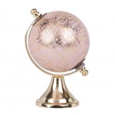Globe terrestre carte du monde en métal doré et rose