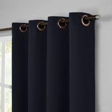 Rideaux voilage en lin Bleu 140×280