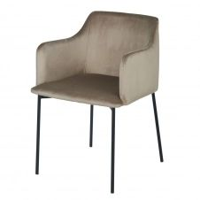 Chaise avec accoudoirs en velours beige capuccino