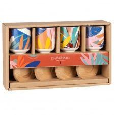 Coffret tasses en grès motif végétal multicolore (x6) et soucoupes en bambou