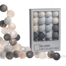 Guirlande lumineuse 20 boules tissées blanc et gris