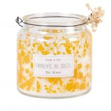 Bougie lanterne parfumée en verre à motifs jaune moutarde