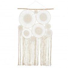 10 attrape-rêves à suspendre en coton blanc 120×217