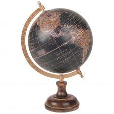 Globe terrestre carte du monde en manguier noir