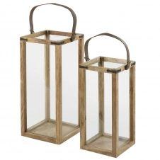 2 lanternes en manguier et cuir
