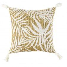 Coussin tressé et motifs feuillages blancs 45×45