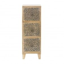 Petit meuble de rangement 3 tiroirs en manguier gravé