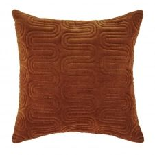 Coussin en velours de coton matelassé cognac motifs brodés dorés 45×45
