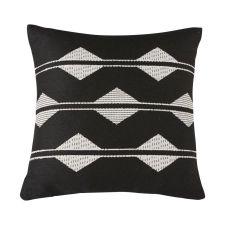 Coussins d'extérieur tissé motifs graphiques noirs et blancs 45×45