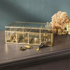 Boîte à bijoux 8 compartiments verre et métal finition laiton antique Mira