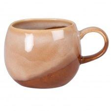 Mug boule en grès marron brillant et beige