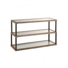 Console d'entrée 3 niveaux verre et bois