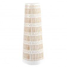 Vase trapèze en grès blanc et beige H31