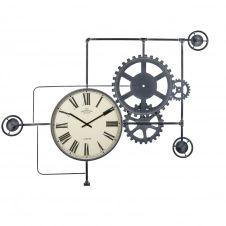 Horloge indus à rouages en métal noir 172×125