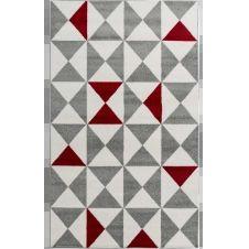 FORSA – Tapis géométrique rouge 120x160cm