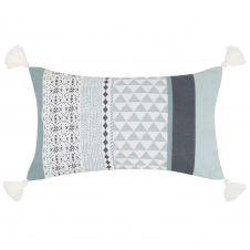 Housse de coussin en coton bleu et blanc 30×50