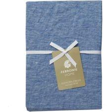 Housse de Couette en lin chambray 240×220 Bleu indigo