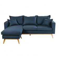 Canapé d'angle modulable style scandinave 4/5 places bleu nuit Duke