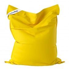 Coussin géant d'extérieur en tissu jaune