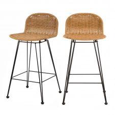 Chaise de bar mi-hauteur 63 cm en résine tressée marron (x2)