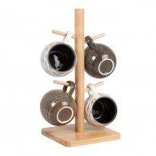 Mugs en grès beige, blanc, brun et gris (x4) et support en bambou