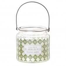 Bougie parfumée en verre imprimé vert et blanc