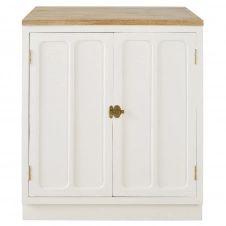 Meuble bas de cuisine 2 portes en manguier massif blanc Cezanne