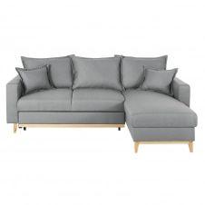 Canapé d'angle convertible 4/5 places gris clair Duke