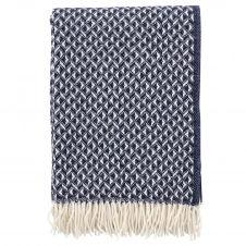Plaid en laine Anna 130×200 cm Bleu foncé