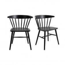 Chaises à barreaux noir mat (lot de 2) DARIA
