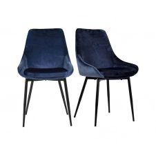 Lot de 2 chaises design velours côtelé Bleu