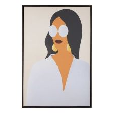 Toile imprimée multicolore femme avec cadre 63 x 93 cm