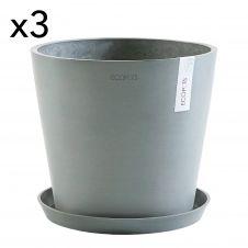 Lot de 3 pots de fleurs avec soucoupe bleu gris D30