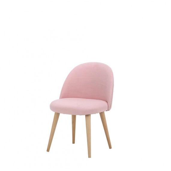 Chaise enfant vintage rose et bouleau massif Mauricette