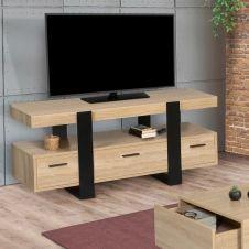 Meuble TV PHOENIX  bois et noir avec tiroirs