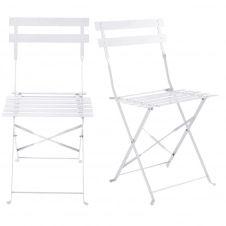 2 chaises de jardin pliantes en métal époxy blanc H80 Guinguette