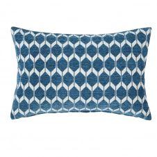 Coussin bleu canard motifs graphiques 40×60