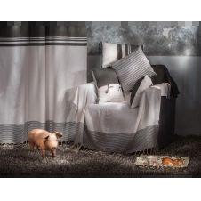 TANGER – Rideau ajustable 100% coton noir et blanc 140 x 250 à 280