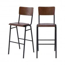 Chaise de bar 75 cm en bois (lot de 2)