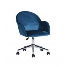 Chaise de bureau à roulettes avec accoudoirs – Bleu