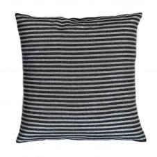 BODRUM – Housse de coussin coton fond noir et rayures argent 40 x 40