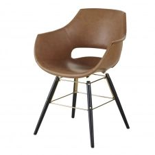 Chaise avec accoudoirs marron imitation cuir vieilli