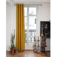 Rideau en velours de coton doublé 135×280 cm jaune