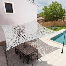 Voile d'ombrage rectangulaire design ombrière camouflage 4×6 m blanc