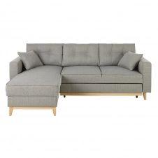 Canapé d'angle convertible 4/5 places gris clair Brooke