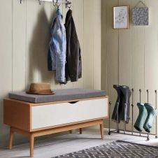 Banc coffre d'entrée chaussures LEO bois façon hêtre et blanc